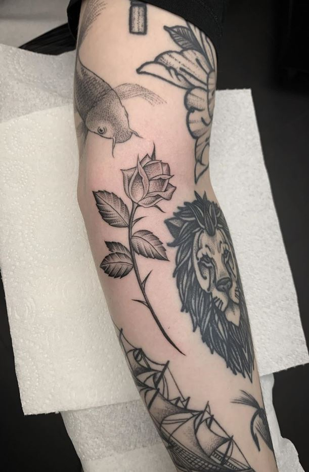 Black And Gray Rose Tattoo