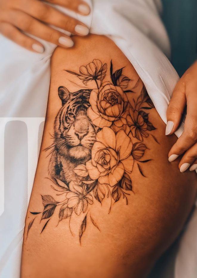 Tiger & Flowers Tattoo