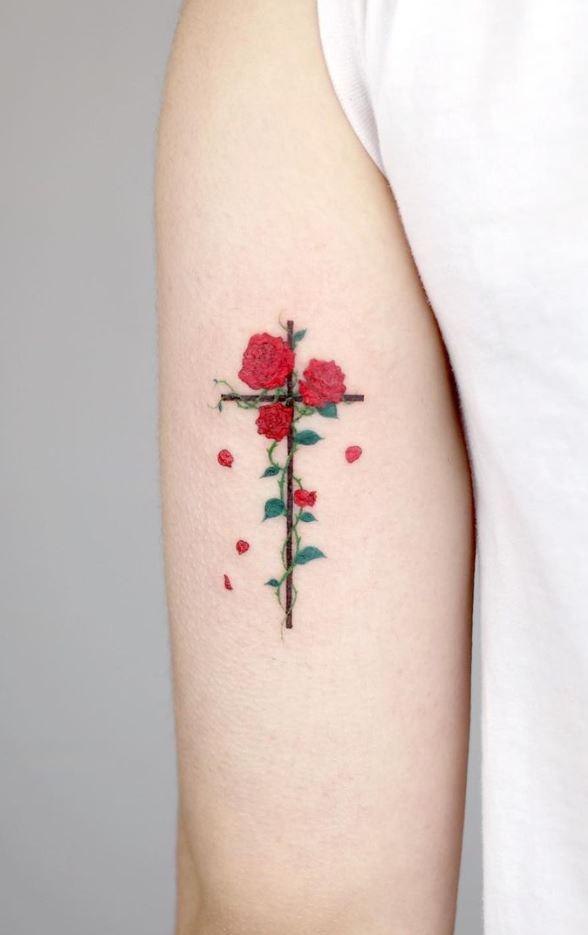 Cross Flowers Tattoo
