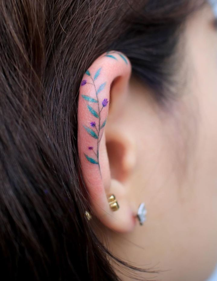 Ear Flowers Tattoo