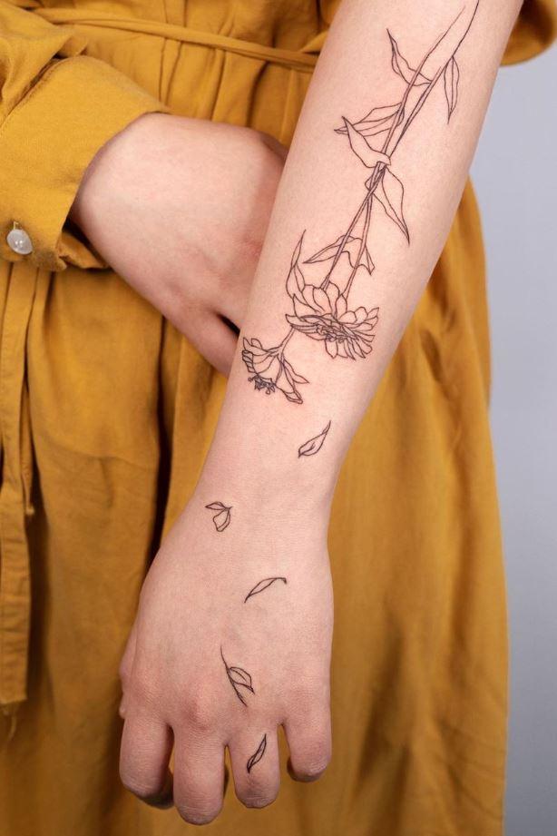 Zinnia Flower Tattoo