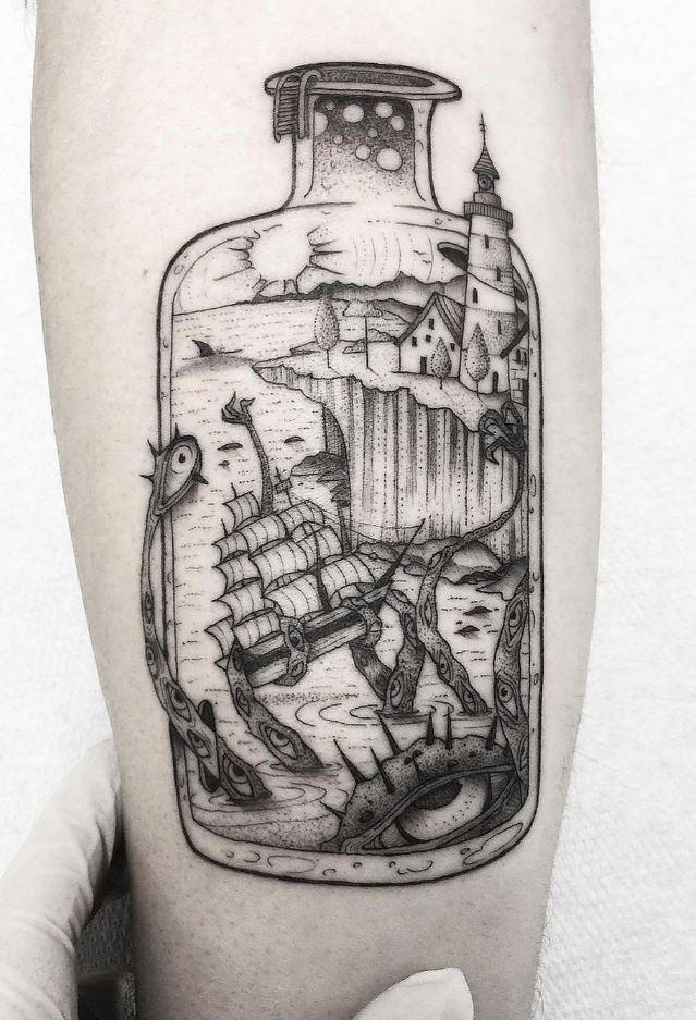 Sea Monster In A Bottle Tattoo
